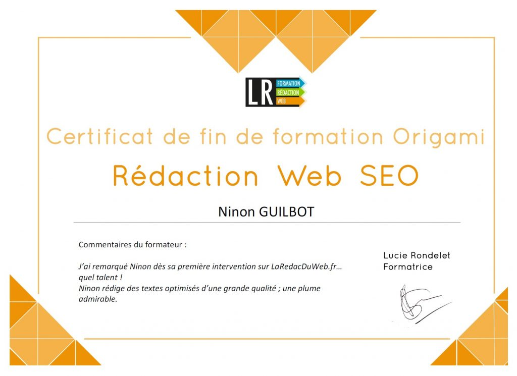 Certificat rédactricée formée par Lucie Rondelet